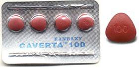 A pack of 4 Caverta 100mg tablets