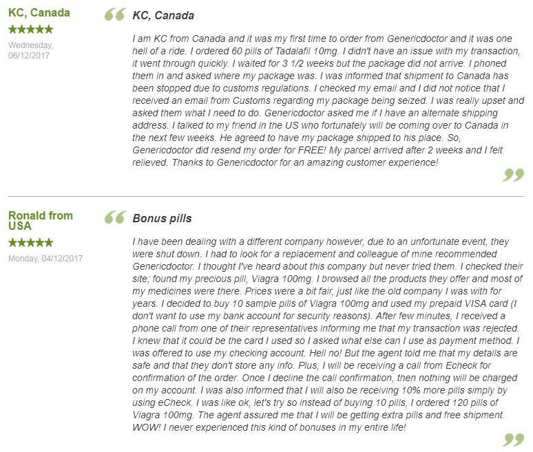 GenericDoctor Customer Reviews