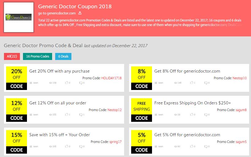 GenericDoctor Coupon Codes