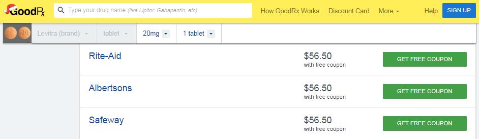 Levitra 20mg Price